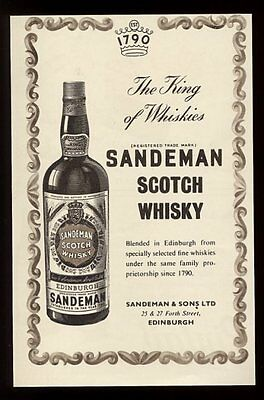 1955 Sandeman Scotch whisky bottle art vintage UK print ad