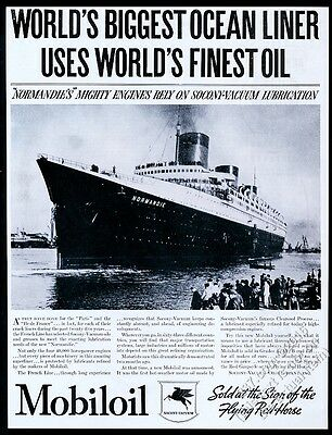 1935 SS Normandie ship photo Mobil Oil Gas vintage print ad