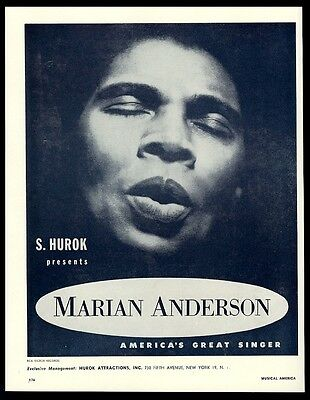 1959 Marian Anderson photo recital tour trade booking ad