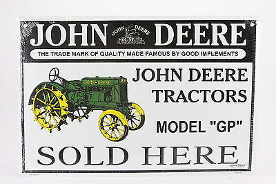 "John Deere Tractors Sold Here Reproduction Metal Sign 12"" x 18"" Sealed Plastic"