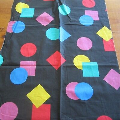 55Cm X 88Cm Vintage Cotton Fabric 1980S Retro Geometric Brights On Black