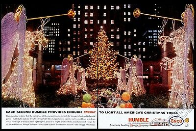 1961 Rockefeller Center NYC Christmas angel lights photo Humble Oil Enco ad
