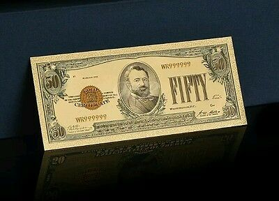 "<MINT CONDITION>1928 ""GOLD CERTIFICATE""$50 GOLD Rep.* Banknote W/COA~U.S SELLERx"