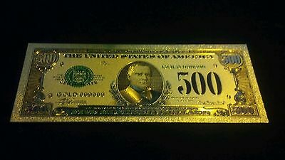 ~1 Pc.REALISTIC AMAZINGLY-COLORED DETAILED.999 FINE GOLD U.S$500 BANKNOTE REP.*