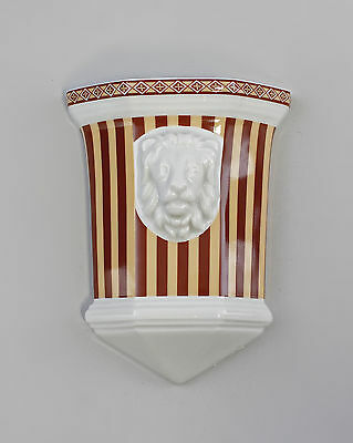 Wall mounted vase Lion's head bright dark brown Stripes Thuringia Porcelain