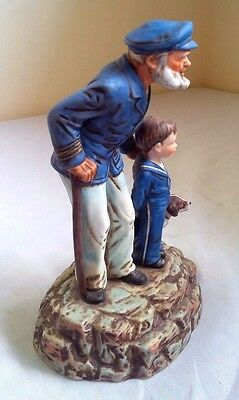 Vtg Norman Rockwell Porcelain Figurine Looking Out to Sea Captain Boy Dog Statue