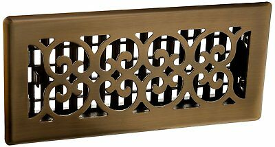 Decor Grates SPH410A 4Inch by 10Inch Scroll Floor Register, Antique Brass