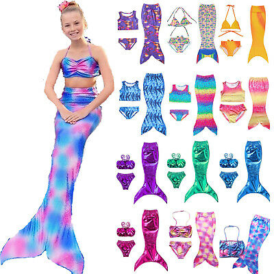 Kids Girls Swimmable Mermaid Tail Swimsuit Bikini Swimwear Swimming Costume US