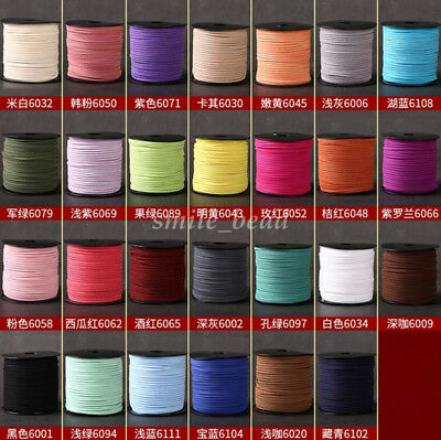 90M Faux Suede Leather Cord Thread Flat Lace For Jewelry Making Beading 3mm Hot