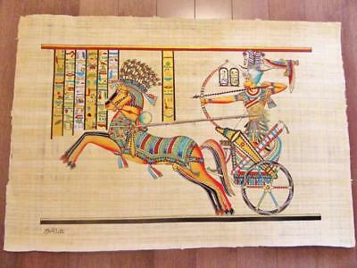 "XXL Huge Signed Handmade Papyrus Egyptian King Ramses II Art Painting..38"" x 26"""