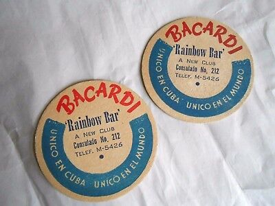Lot of 2 Vintage Bacardi Rum Rainbow Bar Advertising Cardboard Bar Coasters