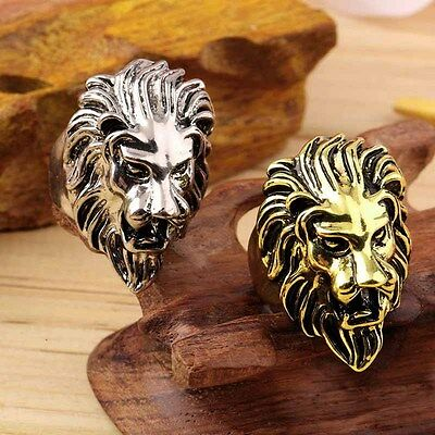 Stainless Steel  Lion's Head Ring Men's Vintage Cool Ring American Size 8-10