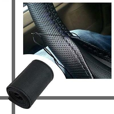 DIY PU Leather Soft Steering Wheel Cover  Needle Thread Anti-slip Black TS
