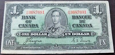 1937 Bank Of Canada A/n3687691 $1 Dollar Note, Circulated Condition, Lot#508