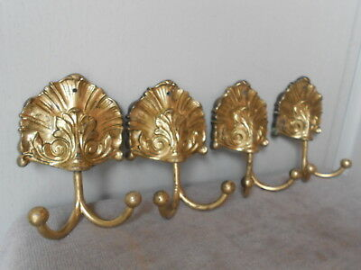 4 French Vintage FAB gilded ORNATE Hooks / Coat Hat Racks 2 hooks / each