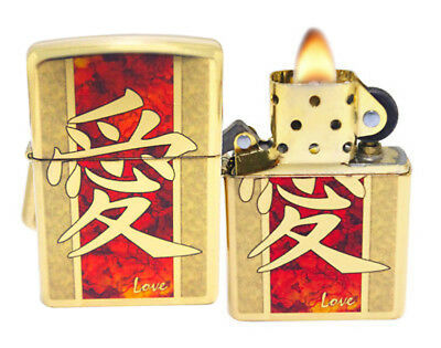 Zippo Lighter 28953 Chinese Love Gold High Polish Brass Windproof Classic New