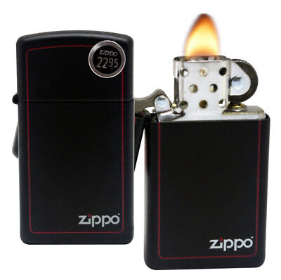 Zippo Lighter 1618ZB Slim Black Matte Finish Red Border Pocket Windproof Lighter