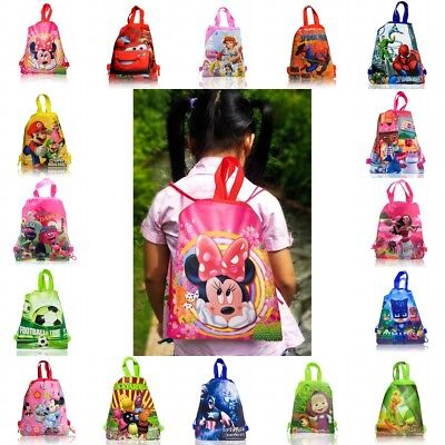 1PCS Mickey PJ Mask Trolls Moana Kids Drawstring Backpack Party School Bags Gift