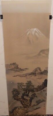 Huge Japanese River Village Fuji Mountain Watercolor On Silk Painting Signed