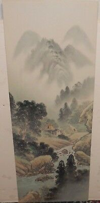Large Japanese Foggy Village Mountain Watercolor On Silk Painting Unsigned
