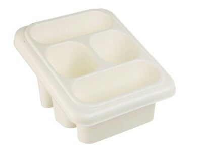 2 x Plastic 4 Section White Cutlery & Utensil Drainer Holder Sink Tidy Organiser