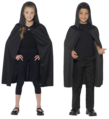 NEW Black Hooded Cape - Childrens Vampire Witch Halloween Fancy Dress Accessory