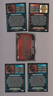 Lot of 5 assorted Admiral Ackbar Star Wars trading cards Topps (some duplicates)