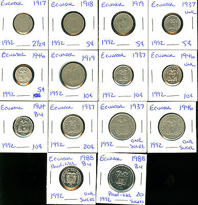 ECUADOR- 1917 through 1988 - 14 DIFFERENT COINS