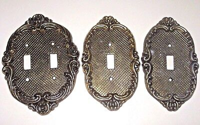 Lot of 3 Vintage Brass Tone Electric Wall Single & Double Switch Plate Covers