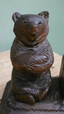 SUPERB 19thc BLACK FOREST OAK CARVING OF A BEAR IN SITTING POSE  C.1870