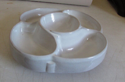 """Frankoma Pottery..12"""" X 12"""" White Sand Chip & Dip Relish Tray W/turn Table #818"""