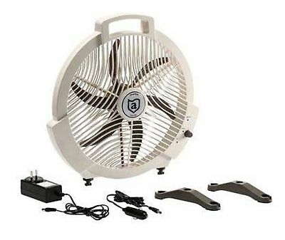"Boat Marine RV Fan 12 Volt Rechargeable Fan 3 Power Options 15"" Wide Attwood"