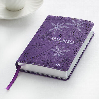 KJV HOLY BIBLE King James Version Purple LuxLeather Floral Pocket Edition NEW