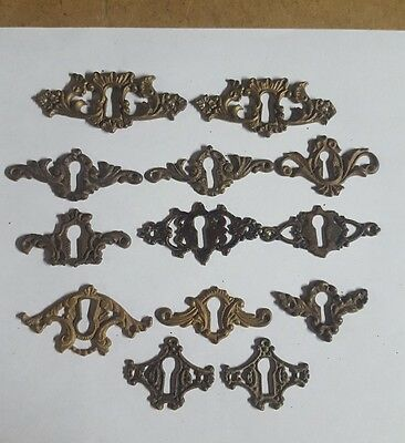 12 Mixed Antique Furniture Cast Brass Escutcheons Keyhole Covers Parts Salvaged