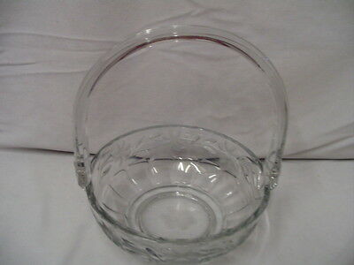 """Heisey Basket Flower Etching Large Signed Diamond H 9"""" Tall 7.25"""" Across Vintage"""