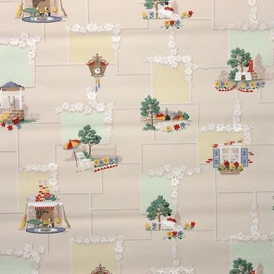 1930s Vintage Wallpaper Antique Kitchen Wallpaper with Fireplaces Farms Clocks