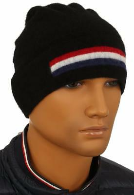 4e33cde754d New Moncler Men s Black Virgin Wool Web Logo Beanie Hat One Size Made In  Italy