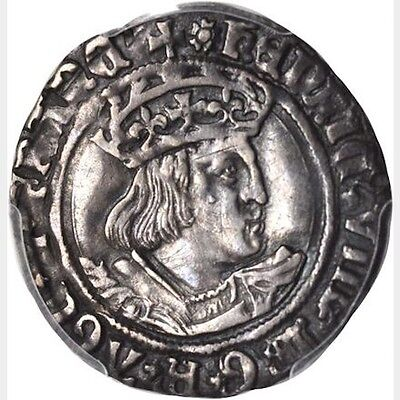 """England Henry Viii 1526-1529  """"groat"""" / 4 Pence Silver Coin Pcgs Certified Xf45"""