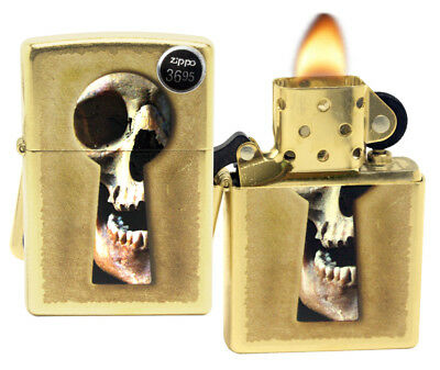 Zippo 28540 Skull Keyhole Gold Dust Finish Windproof Pocket Lighter New