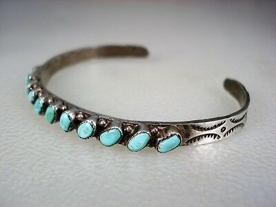 Old Zuni Stamped Sterling Silver & 11 Turquoise Row Bracelet