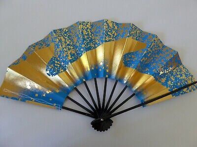 "Japanese Odori Dance Hand Held ""Sensu"" Fan Gold Surf on LT Blue/ Made in Japan"