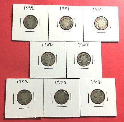 1898-1913 US Barber SILVER Dimes SEt of 8 Carded Coins All Different