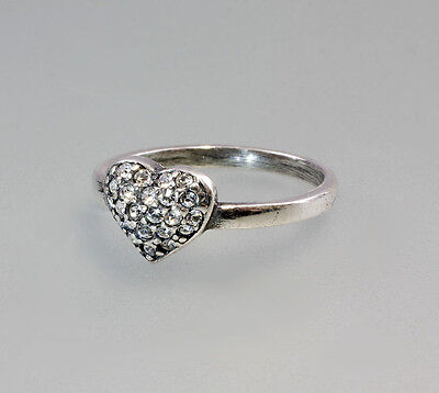 925er Silver Heart Ring made with Swarovski Stones Big 53/54 NEW 9902091