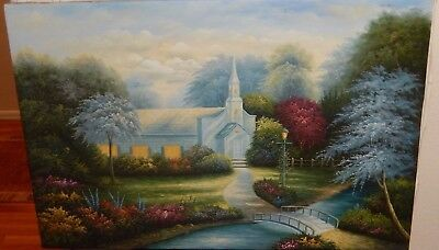 Cosaginne Church River Water Garden Oil On Canvas Painting
