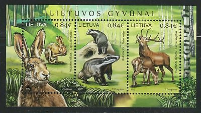 Lithuania 2017 MNH sheet of 3 stamps Deer,Hare & European Badger.WWF