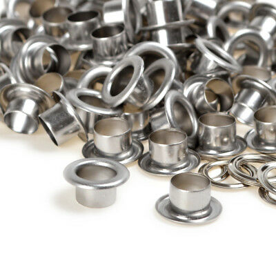 Silver Solid Brass Eyelets w/washer Grommets Inner 6/8/10mm x Barrel Height 7mm