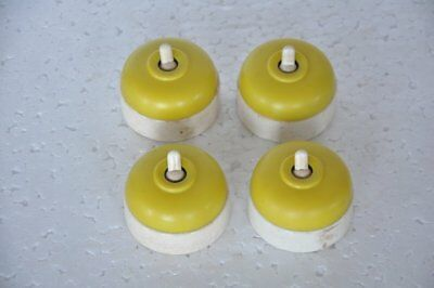 4 Pc Vintage Bakelite & Ceramic Yellow LANDOR Electric Switches,England