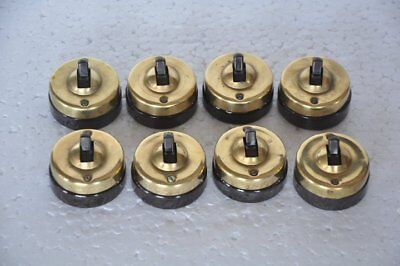 8 Pc Vintage Crabtree Brass & Ceramic Victorian Electric Switches, England
