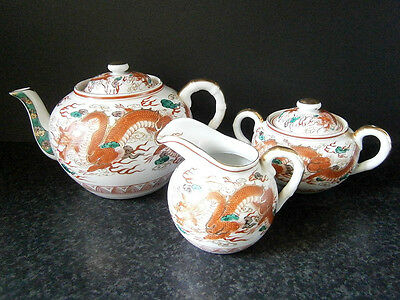 ANTIQUE VINTAGE CHINESE PORCELAIN TEA SET Teapot, Milk, Sugar with Red Dragons