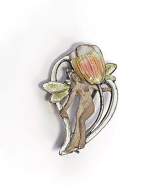 925 Silver enamelled Art Nouveau Brooch Fairy / Fairy with Tulip 9901579